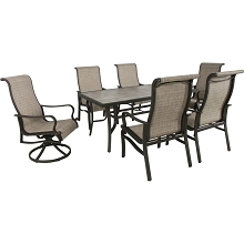 Hanover Venice 7-Piece Dining Set with 2 Sling Swivel Rocker Chairs, 4 Sling Stationary Chairs and 66 in. x 40 in. Slat Top Table, VENDN7PCSW-2