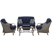 Ventura 4PC Fire Pit Set in Navy Blue - VENTURA4PCFP-NVY