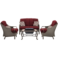 Ventura 4PC Fire Pit Set in Crimson Red - VENTURA4PCFP-RED