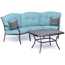 Hanover Traditions 2-Piece Patio Set with Cast-Top Coffee Table and Crescent Sofa in Blue, TRAD2PCCT-BLU
