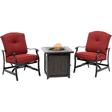 Hanover Traditions 3-Piece Fire Pit Chat Set in Red with 2 Cushioned Rockers and a 26-In. Square Fire Pit Side Table, TRAD3PCFPSQ-RED