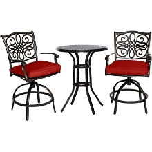 Hanover Traditions 3-Piece High-Dining Bistro Set in Red, TRAD3PCSWBR-RED