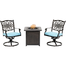 Hanover Traditions 3-Piece Fire Pit Chat Set in Blue with 2 Swivel Rockers and a 26-In. Square Fire Pit Side Table, TRAD3PCSWFPSQ-BLU