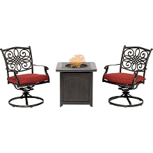 Hanover Traditions 3-Piece Fire Pit Chat Set in Red with 2 Swivel Rockers and a 26-In. Square Fire Pit Side Table, TRAD3PCSWFPSQ-RED