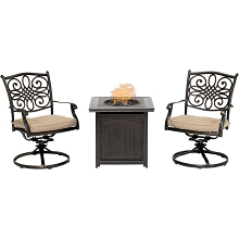 Hanover Traditions 3-Piece Fire Pit Chat Set in Natural Oat with 2 Swivel Rockers and a 26-In. Square Fire Pit Side Table, TRAD3PCSWFPSQ-TAN