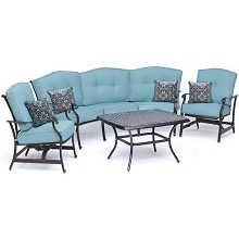 Hanover Traditions 4-Piece Patio Set with Cast-Top Coffee Table, Crescent Sofa and 2 Cushioned Rockers in Blue, TRAD4PCCT-BLU