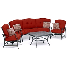 Hanover Traditions 4-Piece Patio Set with Cast-Top Coffee Table, Crescent Sofa and 2 Cushioned Rockers in Red, TRAD4PCCT-RED