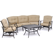 Hanover Traditions 4-Piece Patio Set with Cast-Top Coffee Table, Crescent Sofa and 2 Cushioned Rockers in Tan, TRAD4PCCT-TAN