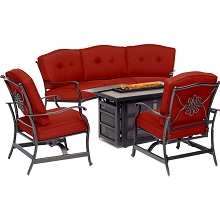 Hanover Traditions 4-Piece Fire Pit Lounge Set in Red with Crescent Sofa, 2 Cushioned Rockers and Rectangular KD Tile-Top Fire Pit, TRAD4PCRECFP-RED