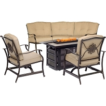 Hanover Traditions 4-Piece Fire Pit Lounge Set in Tan with Crescent Sofa, 2 Cushioned Rockers and Rectangular KD Tile-Top Fire Pit, TRAD4PCRECFP-TAN