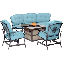 Hanover Traditions 4-Piece Fire Pit Lounge Set in Blue with Crescent Sofa, 2 Cushioned Rockers and Square KD Tile-Top Fire Pit, TRAD4PCSQFP-BLU