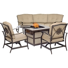 Hanover Traditions 4-Piece Fire Pit Lounge Set in Tan with Crescent Sofa, 2 Cushioned Rockers and Square KD Tile-Top Fire Pit, TRAD4PCSQFP-TAN