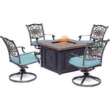 Hanover Traditions 5-Piece Fire Pit Chat Set in Blue with 4 Swivel Rockers and a 40-In. Square Durastone Fire Pit Table, TRAD5PCDSW4FP-BLU