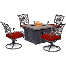 Hanover Traditions 5-Piece Fire Pit Chat Set in Red with 4 Swivel Rockers and a 40-In. Square Durastone Fire Pit Table, TRAD5PCDSW4FP-RED