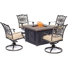 Hanover Traditions 5-Piece Fire Pit Chat Set in Natural Oat with 4 Swivel Rockers and a 40-In. Square Durastone Fire Pit Table, TRAD5PCDSW4FP-TAN