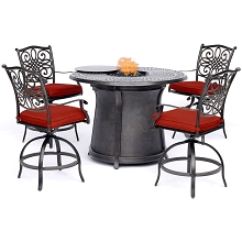 Hanover Traditions 5-Piece High-Dining Set in Red with 4 Swivel Chairs and a 40,000 BTU Cast-top Fire Pit Table, TRAD5PCFPRD-BR-R