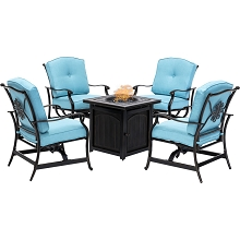 Hanover Traditions 5-Piece Fire Pit Chat Set in Blue with 4 Cushioned Rockers and a 26-In. Square Fire Pit Table, TRAD5PCFPSQ-BLU
