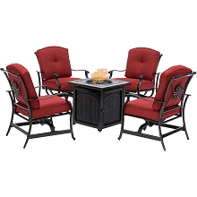 Hanover Traditions 5-Piece Fire Pit Chat Set in Red with 4 Cushioned Rockers and a 26-In. Square Fire Pit Table, TRAD5PCFPSQ-RED