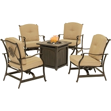 Hanover Traditions 5-Piece Fire Pit Chat Set in Natural Oat with 4 Cushioned Rockers and a 26-In. Square Fire Pit Table, TRAD5PCFPSQ-TAN