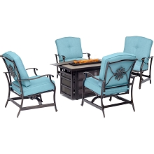 Hanover Traditions 5-Piece Fire Pit Chat Set in Blue with 4 Cushioned Rockers and Rectangular KD Tile-Top Fire Pit, TRAD5PCRECFP-BLU