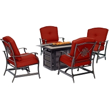 Hanover Traditions 5-Piece Fire Pit Chat Set in Red with 4 Cushioned Rockers and Rectangular KD Tile-Top Fire Pit, TRAD5PCRECFP-RED