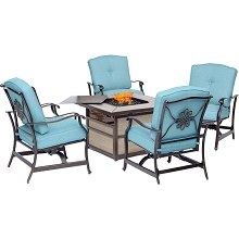 Hanover Traditions 5-Piece Fire Pit Chat Set in Blue with 4 Cushioned Rockers and Square KD Tile-Top Fire Pit, TRAD5PCSQFP-BLU