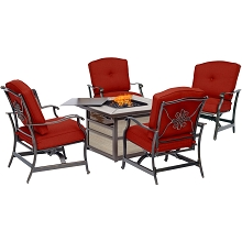 Hanover Traditions 5-Piece Fire Pit Chat Set in Red with 4 Cushioned Rockers and Square KD Tile-Top Fire Pit, TRAD5PCSQFP-RED