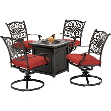 Hanover Traditions 5-Piece Fire Pit Chat Set in Red with 4 Swivel Rockers and a 26-In. Square Fire Pit Table, TRAD5PCSWFPSQ-RED