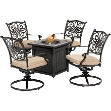 Hanover Traditions 5-Piece Fire Pit Chat Set in Natural Oat with 4 Swivel Rockers and a 26-In. Square Fire Pit Table, TRAD5PCSWFPSQ-TAN