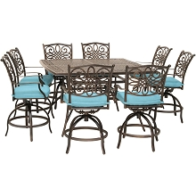 Hanover Traditions 9-Piece High-Dining Set in Blue with 8 Swivel Chairs and a 60 In. Square Cast-Top Table, TRADDN9PCBRSQ-BLU