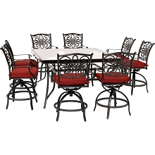 Hanover Traditions 9-Piece High-Dining Set in Red with 8 Swivel Chairs and a 60 In. Square Glass-Top Table, TRADDN9PCBRSQG-RED
