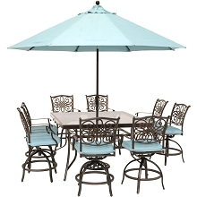 Hanover Traditions 9-Piece High-Dining Set in Blue with 8 Swivel Chairs, a 60 In. Square Glass-Top Table, Umbrella and Stand, TRADDN9PCBRSQG-SU-B