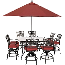 Hanover Traditions 9-Piece High-Dining Set in Red with 8 Swivel Chairs, a 60 In. Square Glass-Top Table, Umbrella and Stand, TRADDN9PCBRSQG-SU-R