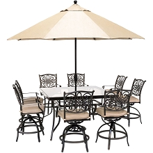 Hanover Traditions 9-Piece High-Dining Set in Natural Oat with 8 Swivel Chairs, a 60 In. Square Glass-Top Table, Umbrella and Stand, TRADDN9PCBRSQG-SU-T