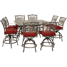 Hanover Traditions 9-Piece High-Dining Set in Red with 8 Swivel Chairs and a 60 In. Square Cast-Top Table, TRADDN9PCBRSQ-RED