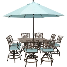 Hanover Traditions 9-Piece High-Dining Set in Blue with 8 Swivel Chairs, a 60 In. Square Cast-Top Table, Umbrella and Stand, TRADDN9PCBRSQ-SU-B