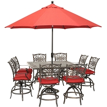 Hanover Traditions 9-Piece High-Dining Set in Red with 8 Swivel Chairs, a 60 In. Square Cast-Top Table, Umbrella and Stand, TRADDN9PCBRSQ-SU-R