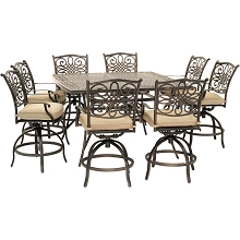 Hanover Traditions 9-Piece High-Dining Set in Tan with 8 Swivel Chairs and a 60 In. Square Cast-Top Table, TRADDN9PCBRSQ-TAN