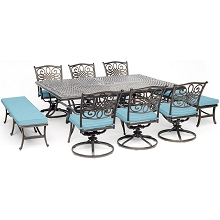 Hanover Traditions 9-Piece Dining Set in Blue with 6 Swivel Chairs, 2 Benches, and a 60