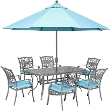 Hanover Traditions 7-Piece Gray Patio Dining Set with 6 Chairs, Blue Cushions, Cast-Top Dining Table, and Umbrella with Stand, TRADDNG7PC-SU-B
