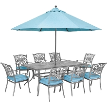 Hanover Traditions 9-Piece Gray Patio Dining Set with 8 Chairs, Blue Cushions, Cast-Top Dining Table, and Umbrella with Stand, TRADDNG9PC-SU-B