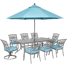 Hanover Traditions 9-Piece Dining Set with 6 Stationary Chairs, 2 Swivel Rockers, 42 x 84 Dining Table, Umbrella and Stand, Blue/Gray, TRADDNG9PCSW2-SU-B