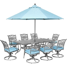 Hanover Traditions 9-Piece Dining Set with 8 Swivel Rockers, 42 x 84 Dining Table, Umbrella and Stand, Blue/Gray, TRADDNG9PCSW8-SU-B