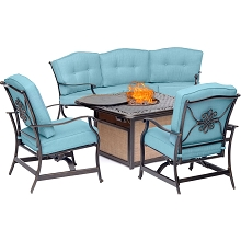 Hanover Traditions 4-Piece Outdoor Lounge Set in Blue with Cast-Top Fire Pit, TRADITIONS4PCFP-BLU