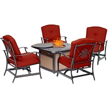Hanover Traditions 5-Piece Seating Set in Red with Cast-Top Fire Pit Table, TRADITIONS5PCFP-RED