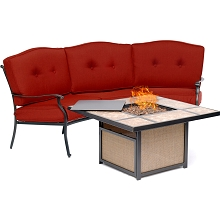 Hanover Traditions 2-Piece Seating Set in Red with Tile-Top Fire Pit, TRADTILE2PCFP-RED