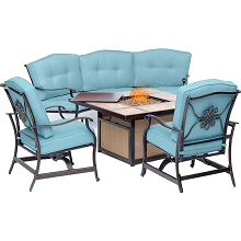 Hanover Traditions 4-Piece Outdoor Lounge Set in Blue with Tile-Top Fire Pit, TRADTILE4PCFP-BLU