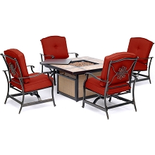 Hanover Traditions 5-Piece Outdoor Lounge Set in Red with Tile-top Fire Pit, TRADTILE5PCFP-RED