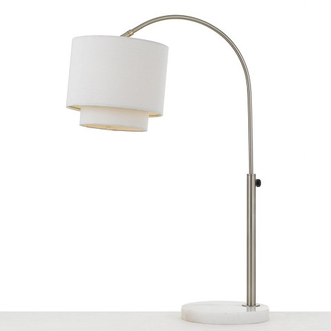 AF Lighting Arched Table Lamp in Brushed Nickel with Fabric Shade - 9122-TL
