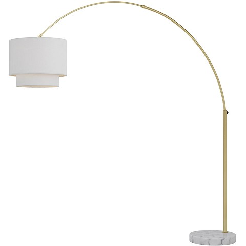 AF Lighting Arched Floor Lamp in Brushed Gold with Fabric Shade - 9125-FL